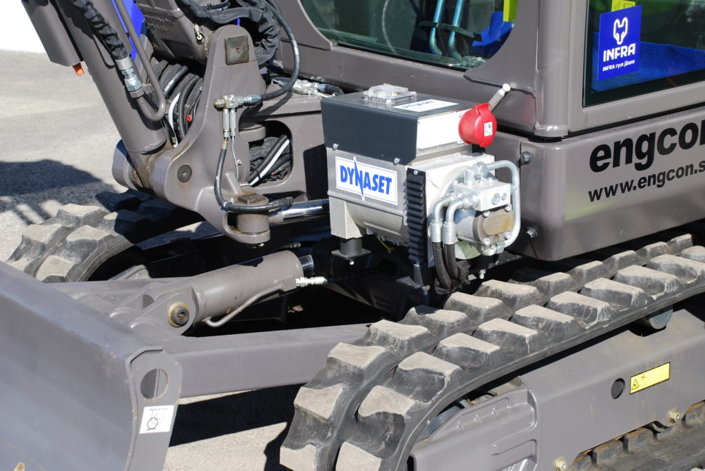 Dynaset HG65kVA Volvo mini excavator close
